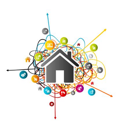 부동산 예측, 다른 방향을 가리키는 화살표와 함께 얽힌 된 라인 위에 다채로운 아바타 아이콘 집 시장 분석 개념 일러스트