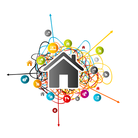 Real estate prediction, house market analysis concept with colorful avatar icons over tangled lines with arrows pointing different directions