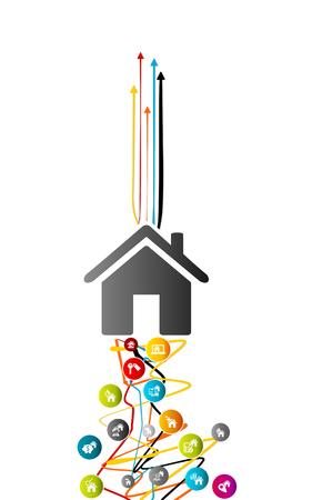 하우스 시장 동향, 위쪽을 가리키는 화살표와 함께 얽힌 된 라인 위에 다채로운 아바타 집 아이콘으로 부동산 분석 개념 일러스트