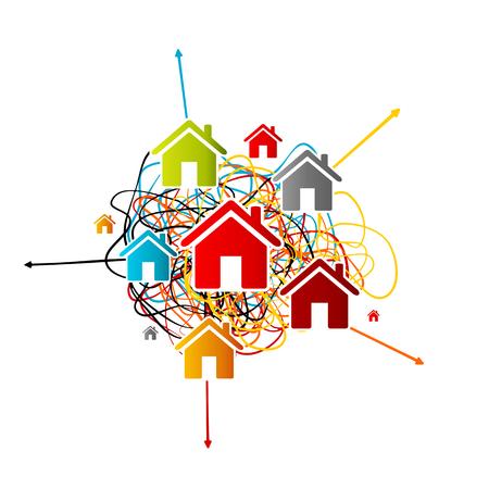 부동산 분석, 다른 방향을 가리키는 화살표와 함께 얽힌 된 라인 위에 다채로운 아바타 아이콘 하우스 시장 예측 개념
