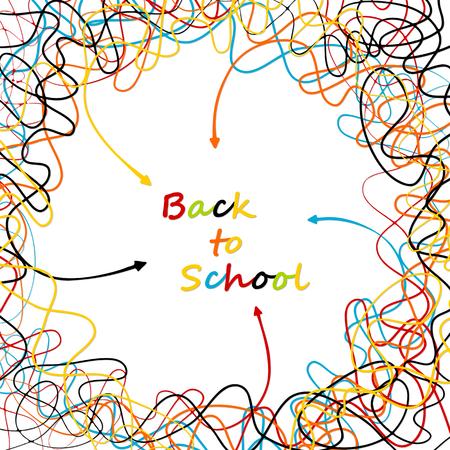 다채로운 편지와 센터를 향해 가리키는 화살표가 얽힌 된 라인 학교 개념을 다시