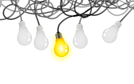 Complicated idea vector illustration with light bulbs and tangled power cables Иллюстрация