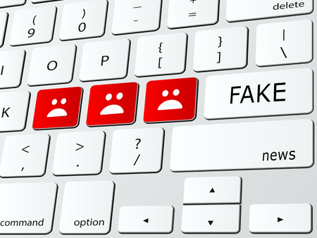 Fake news concept illustration with icons over computer keyboard.