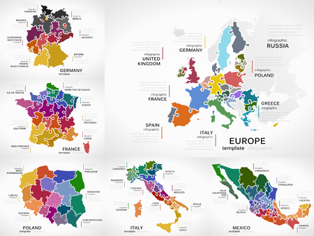 Confezione di mappe infografiche con illustrazioni puzzle Europa, Germania, Francia, Polonia, Italia e Messico Archivio Fotografico - 87295288
