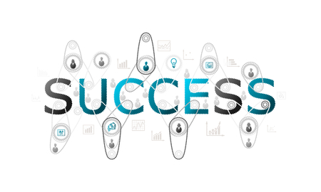 Success concept illustration with complex gear and people silhouettes with cogs
