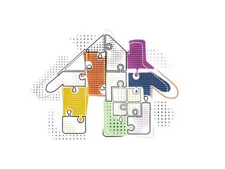 Abstracte vector illustratie van een huis gemaakt van puzzelstukken in memphis stijl Stock Illustratie
