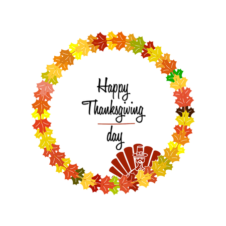 Happy Thanksgiving Day celebrations greeting card design isolated on white background Illustration