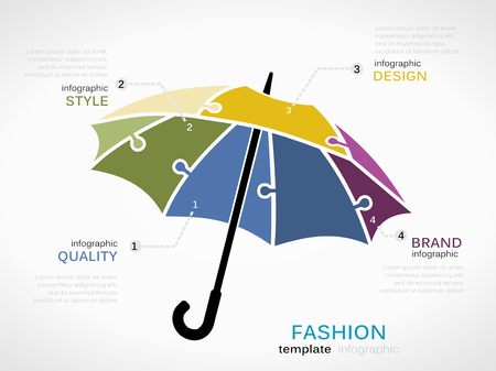 Fashion infographic template with umbrella symbol model made out of jigsaw pieces