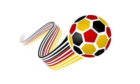 German soccer ball isolated on white background with winding ribbons on black, red and yellow colors Illustration