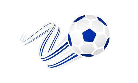 Israeli soccer ball isolated on white background with winding ribbons on blue, white and blue colors Illustration