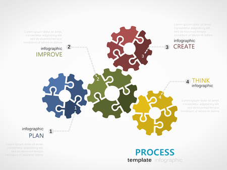 process infographic template with gear symbol model made out