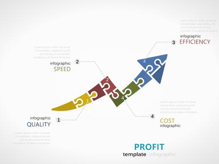 직소 퍼즐 조각으로 만든 화살표 그래프 기호로 수익 통계 템플릿