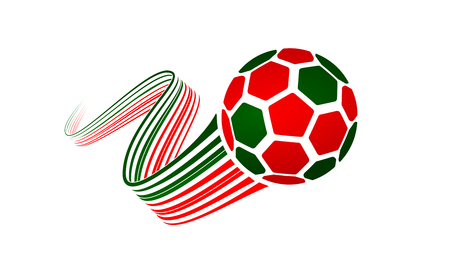 Portugal soccer ball isolated on white background with winding ribbons on green and red colors Illustration