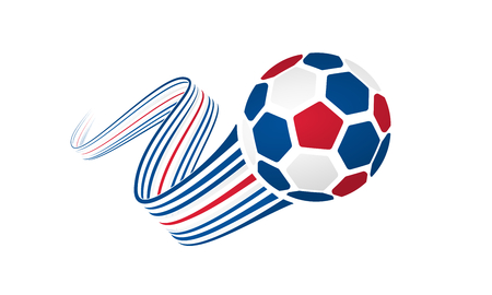 Iceland soccer ball isolated on white background with winding ribbons on blue, white and red colors Illustration
