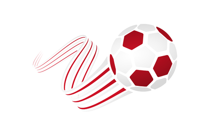 England soccer ball isolated on white background with winding ribbons on white and red colors
