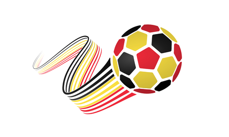 Belgium soccer ball isolated on white background with winding ribbons on black, yellow and red colors Illustration