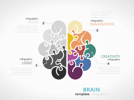 Brain infographic template with brain symbol made out of jigsaw pieces