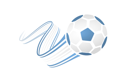 Argentina soccer ball isolated on white background with winding ribbons on blue and white colors.