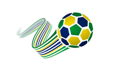 Brazil soccer ball isolated on white background with winding ribbons on green, yellow and blue colors.