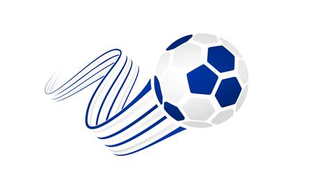 우루과이 축구 공 파란색과 흰색 색에 와인딩 리본과 흰 배경에 고립.