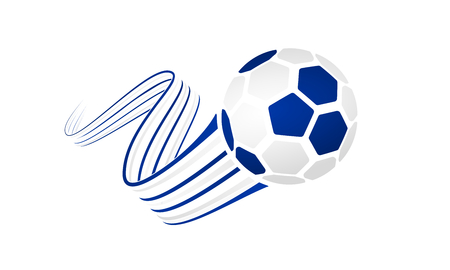 Uruguay soccer ball isolated on white background with winding ribbons on blue and white colors. Illustration