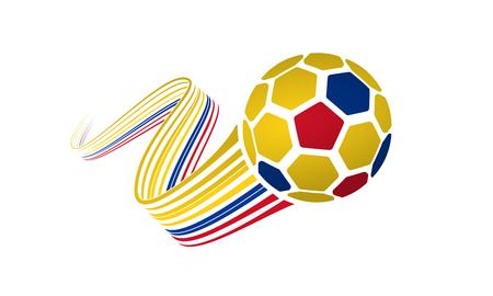 Ballon de football Colombie ou Equateur isolé sur fond blanc avec des rubans sinueux sur les couleurs jaunes, bleus et rouges.