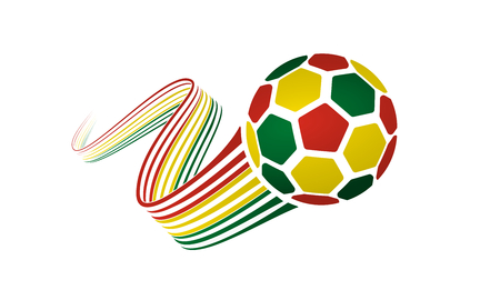 Bolivia soccer ball isolated on white background with winding ribbons on red, yellow and green colors.