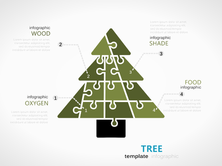 Nature Infographic Template With Tree Symbol Model Made Out Of