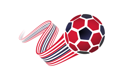 Trinidad and Tobago soccer ball isolated on white background with winding ribbons on black and red colors