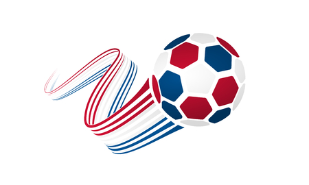 Soccer ball isolated on white background with winding ribbons on red, white and blue colors