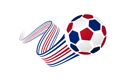 Costa Rica soccer ball isolated on white background with winding ribbons on blue, white and red colors