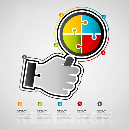 Five options research timeline infographic design with magnifying glass icon made out of jigsaw pieces Illustration