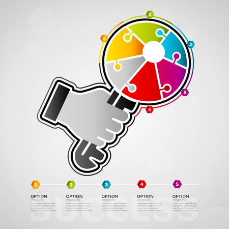 Five options success timeline infographic design with key icon made out of jigsaw pieces Ilustração