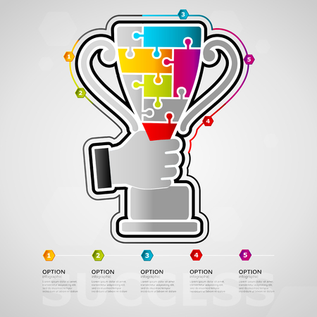 Five options success timeline infographic design with cup icon made out of jigsaw pieces