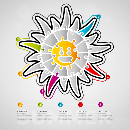 Five options Summer timeline infographic design with sun icon made out of jigsaw pieces