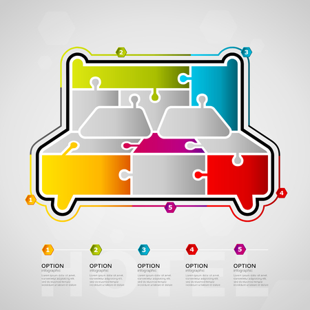 Five options Hotel timeline infographic design with bed icon made out of jigsaw pieces Ilustração