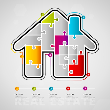 Five options Real estate timeline infographic design with house icon made out of jigsaw pieces