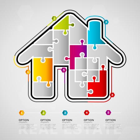Vijf opties Onroerend goed tijdlijn infographic ontwerp met huis pictogram gemaakt van puzzel stukjes