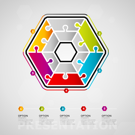 Five options Presentation timeline infographic design with hexagon icon made out of jigsaw pieces. Illustration