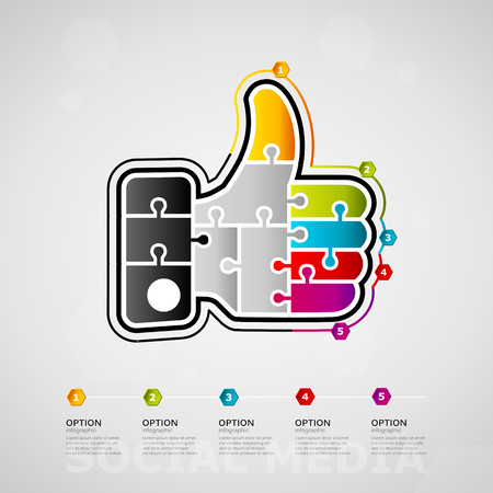 Five options Social media timeline infographic design with thumbs up icon made out of jigsaw pieces. Ilustração