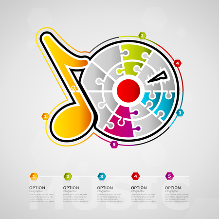 Five options Music timeline infographic design with record icon made out of jigsaw pieces. Ilustração