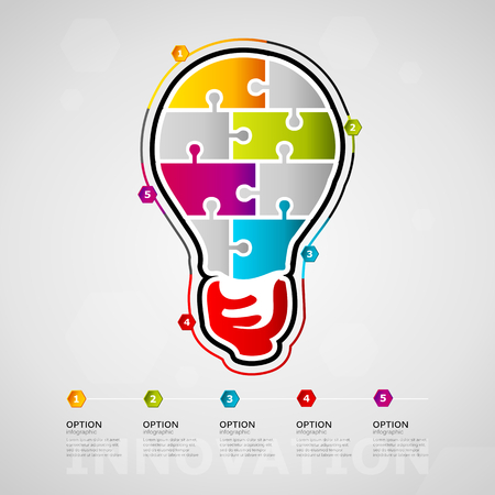 Five options Innovation timeline infographic design with light bulb icon made out of jigsaw pieces Ilustração