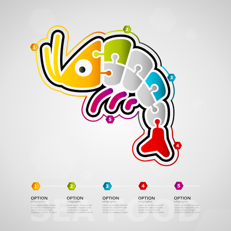 Five options food timeline infographic design with Seafood icon made out of jigsaw pieces