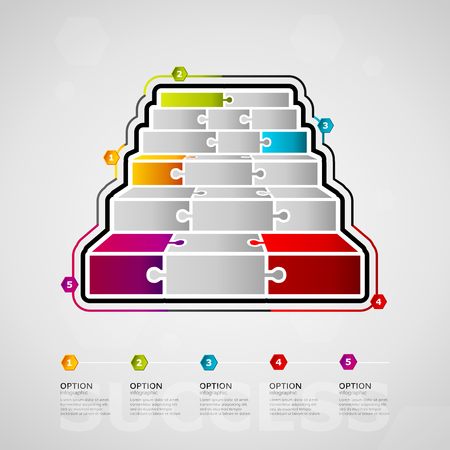 Five options Success media timeline infographic design with stairs icon made out of jigsaw pieces Ilustração