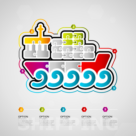 Five options shipping timeline infographic design with container ship icon made out of jigsaw pieces
