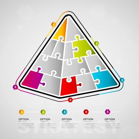 Five options strategy media timeline infographic design with pyramid icon made out of jigsaw pieces Ilustração