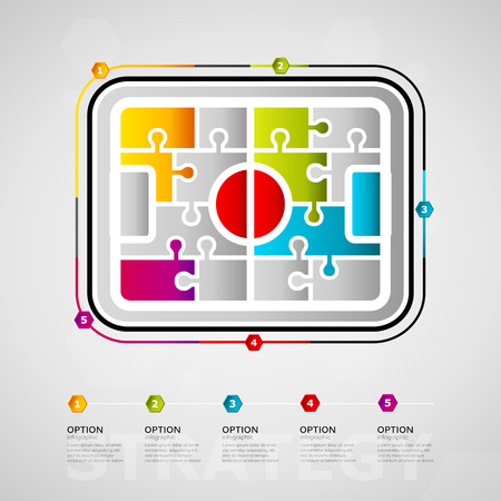 Five options strategy timeline infographic design with soccer field icon made out of jigsaw pieces Illustration