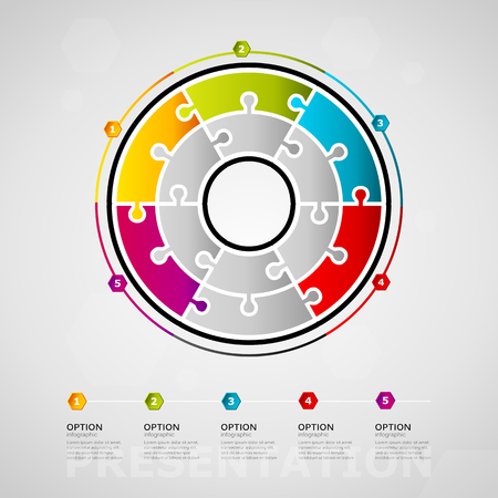 Five options presentation timeline infographic design with circle made out of jigsaw pieces Ilustração