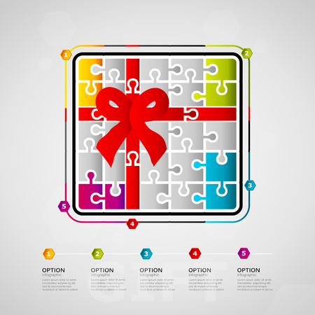 Five options gift timeline infographic design with ribbon box icon made out of jigsaw pieces.