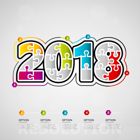 Five options 2018 timeline infographic design with text made out of jigsaw pieces Illustration